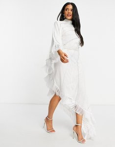 Read more about A star is born bridal embellished long sleeve maxi dress in white
