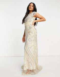 Read more about A star is born embellished key hole maxi dress in peach-white