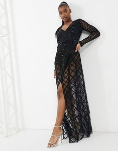 Read more about A star is born embellished long sleeve v neck maxi dress in black