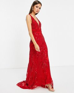 Read more about A star is born embellished plunge maxi dress in red