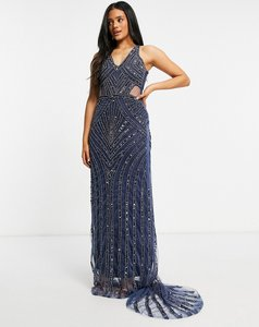 Read more about A star is born embellished v neck maxi dress in navy