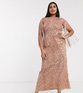 Read more about A star is born plus exclusive embellished maxi dress with fringe sleeves in rose gold