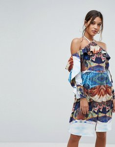 Read more about Aeryne cold shoulder printed midi dress with thigh split-multi