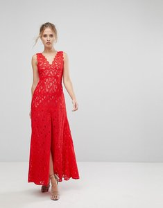 Read more about Aijek maxi dress in scallop lace with front slit-red