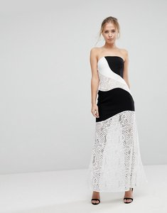 Read more about Aijek maxi dress with monochrome and lace detail-multi