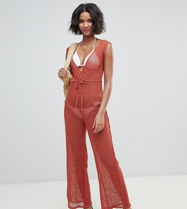 Read more about Akasa exclusive grid mesh beach jumpsuit in spice-black