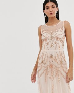 Read more about Amelia rose tall embellished sleeveless maxi dress in soft peach-pink