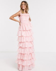 Read more about Anaya with love frill off shoulder printed tiered prom maxi dress in pink print