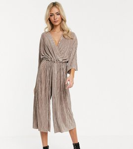 Read more about Another reason relaxed wrap front jumpsuit with toggle tie in crinkle fabric-neutral