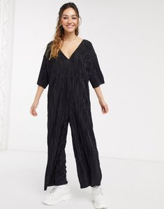 Read more about Another reason wide leg plisse jumpsuit with deep plunge-black