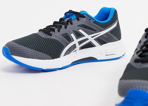 Read more about Asics running gel exalt 5 trainers in black and blue