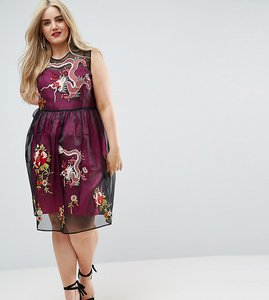 Read more about Asos curve premium embroidered mesh midi skater dress with contrast lining-multi