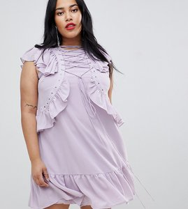 Read more about Asos curve swing tea mini dress with lace up eyelet detail-purple