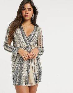 Read more about Asos design armour embellished mini wrap dress in silver-multi