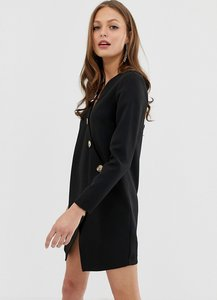 Read more about Asos design asymmetric shift mini dress with tortoiseshell buttons-black