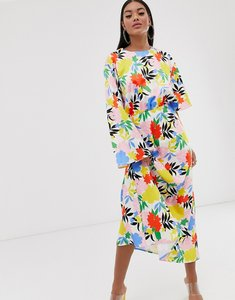 Read more about Asos design asymmetric sleeve maxi dress in bright floral print-multi