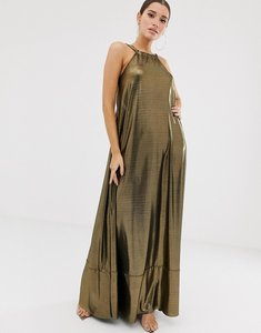Read more about Asos design backless metallic maxi dress with pephem detail-gold