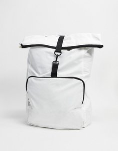 Read more about Asos design backpack in white with roll top and black straps