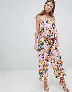 Read more about Asos design bandeau jumpsuit with drape detail in pink floral