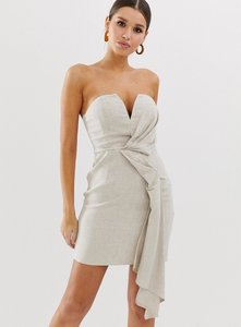 Read more about Asos design bandeau mini dress with drape detail in textured linen-multi