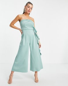 Read more about Asos design bandeau scuba jumpsuit with ruffle-green