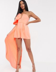 Read more about Asos design bandeau scuba playsuit with puff sleeve and drape detail-orange