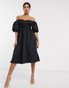 Read more about Asos design bardot puff sleeve midi prom dress with belt detail-black