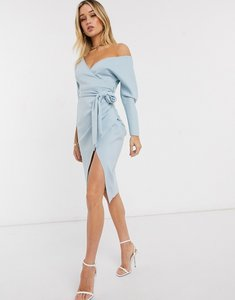 Read more about Asos design bardot wrap batwing sleeve midi dress with self tie belt in soft blue
