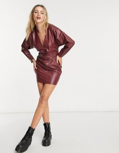 Read more about Asos design batwing pu mini dress with wrap waist in red