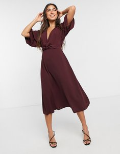 Read more about Asos design batwing twist front midi skater dress in oxblood-red