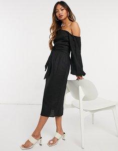 Read more about Asos design belted fallen shoulder midi pencil dress in black