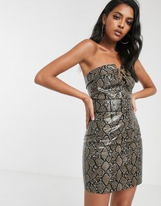 Read more about Asos design belted mini dress in snake pu with lace up-multi