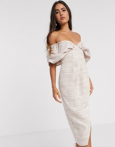 Read more about Asos design blouson bodice wrap midi dress in textured pale pink check