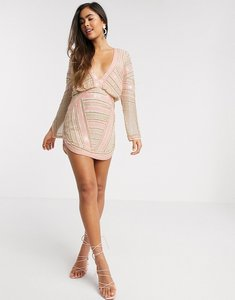 Read more about Asos design blouson linear embellished mini dress with split sleeve-grey