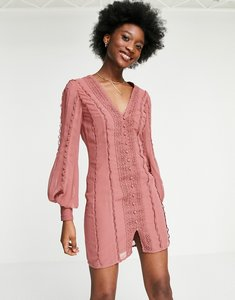 Read more about Asos design blouson sleeve mini dress with lace and button detail in blush-pink