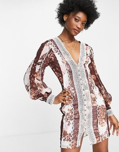 Read more about Asos design blouson sleeve mini dress with lace and button detail in mixed floral print-multi
