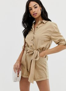 Read more about Asos design boiler playsuit with button front and tie waist-cream