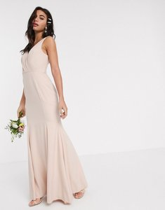 Read more about Asos design bridesmaid button back maxi dress with pleated bodice detail-pink