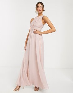Read more about Asos design bridesmaid maxi dress with soft pleated bodice-pink