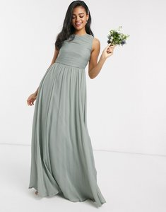 Read more about Asos design bridesmaid maxi dress with soft pleated bodice-green