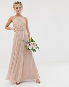 Read more about Asos design bridesmaid pinny maxi dress with ruched bodice-pink