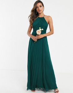 Read more about Asos design bridesmaid pinny maxi dress with ruched bodice-green
