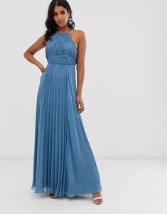 Read more about Asos design bridesmaid pinny maxi dress with ruched bodice-blue