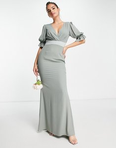 Read more about Asos design bridesmaid pleat bodice maxi dress with short sleeve and satin trim in olive-green