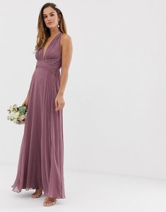 Read more about Asos design bridesmaid ruched bodice drape maxi dress with wrap waist-purple