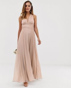 Read more about Asos design bridesmaid ruched bodice drape maxi dress with wrap waist-neutral