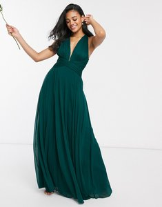 Read more about Asos design bridesmaid ruched bodice drape maxi dress with wrap waist-green