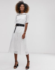 Read more about Asos design broderie midi smock dress with studded belt-white