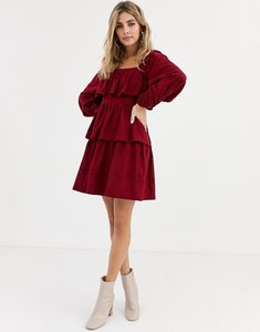 Read more about Asos design broderie square neck ruffle mini dress in berry-red