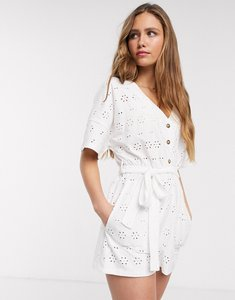 Read more about Asos design broderie tie waist button front playsuit in white